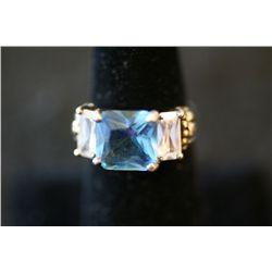 Sterling Silver Ring W/Large Square Blue Gemstone & Two Side Baguettes