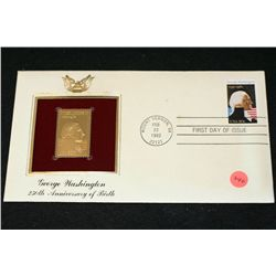 1982 First Day of Issue 22K Gold Replica Stamp W/Postal Stamp; George Washington 250th Anniversary o