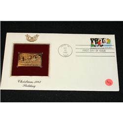 1982 First Day of Issue 22K Gold Replica Stamp W/Postal Stamp; Christmas 1982 Sledding