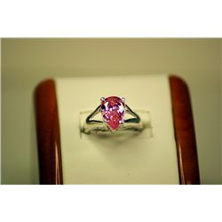 Lady's Fancy 14kt White Gold Pink Sapphire & Diamond Ring