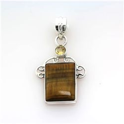 33.ctw Tiger Eye Yellow Gemstone Silver Pendant