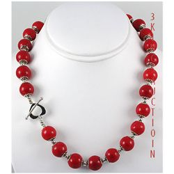 428.64ctw Red Sea Coral Beads Silver Necklace