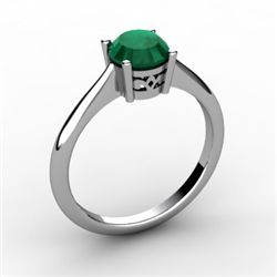 Emerald 0.80 ctw Ring 14kt White Gold