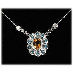 Genuine 1.87 ct Citrine, Topaz Diamond Necklace 14k W/G