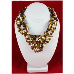 1278.50ctw Wired Flower Necklace w/ Shell & Pearls