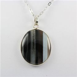 48.ctw Stripped Onyx Silver Pendant
