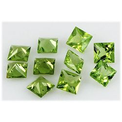 Peridot 10.31 ctw Loose Gemstone 6x6mm Princess Cut