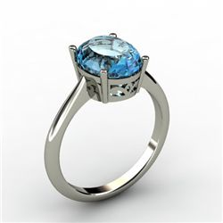 Aqua Marine 2.25 ctw Ring 14kt White Gold