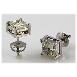 Genuine 2.40 ctw Princess Cut Earring J-K, SI3/I1