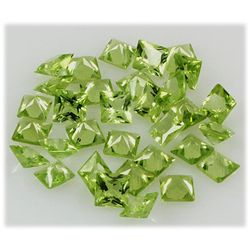 Peridot 10.33 ctw Loose Gemstone 4x4mm Princess Cut