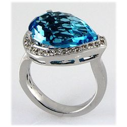 Genuine 13.04ctw Blue Topaz Diamond Ring 14kt W/G 6.71g