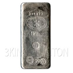 Silver Bars: Random Manufacturer 1 Kilo (32.15 oz) Bar