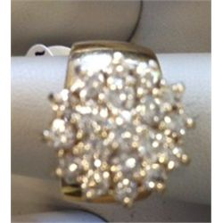 2 CT Diamond 18 Stone Cluster Ladies Ring