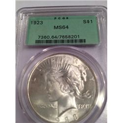 1923-S SILVER PEACE DOLLAR PCGS MS-64