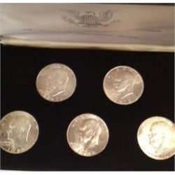 SET OF 5 MINT SILVER EISENHOWER DOLLARS, 1971-1974
