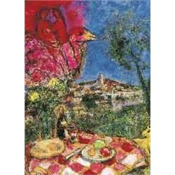 "Marc Chagall Lithograph ""Lovers Over The City"" Ltd Edition. Plate signed and numbered, offset lithog"