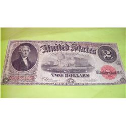 LARGE 1917 $2 DOLLAR BILL RED SEAL NOTE