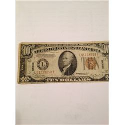 1934 Series WWII $10 Hawaii Silver Certificate Emergency Currency