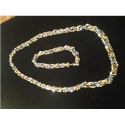 18K Gold Two Tone Abstract Necklace & Bracelet, 18.8 Grams