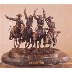 """COMING THRU THE RYE"" by Frederic Remington, Bronze Sculpture. Size: 10"" height, 12"" length, 9.5"" wi"