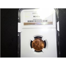 1909 VDB LINCOLN WHEAT CENT, NGC MS-63RB