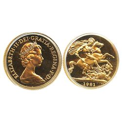 Great Britain, Proof sovereign, Elizabeth II, 1981.