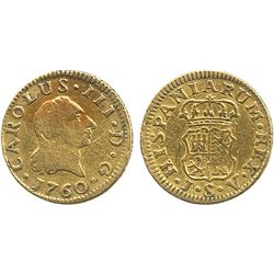 Seville, Spain, bust 1/2 escudo, Charles III (first bust), 1760JV.