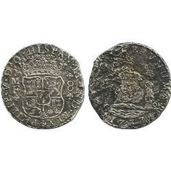 Mexico City, Mexico, pillar 8 reales, Philip V, 1733MF, scarce.