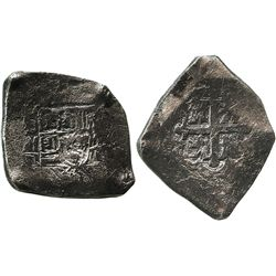 Mexico City, Mexico, cob 8 reales, Philip V, assayer R (1729-30).