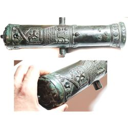 Small bronze cannon (1800s?), a miniaturized replica of the famous 1533 Portuguese  Tiger  cannon lo