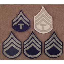 FIVE WWII ERA CHEVRON PATCHES