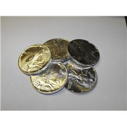 Lot of 5 Silver Eagles