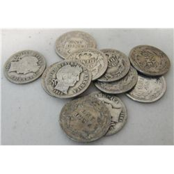 Lot of (10) Barber Dimes
