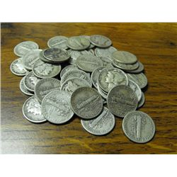 Lot of (50) Mercury Dimes - Circulated