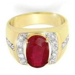 6.33 ctw Ruby & Diamond Men's Ring Yellow Gold