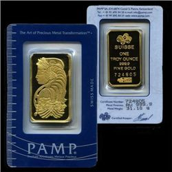1 oz. Gold Bar - Pamp-Perth or other Pure