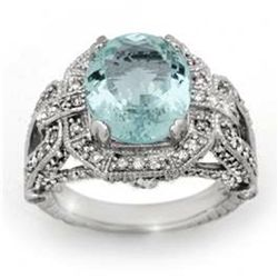 6.50 ctw Aquamarine & Diamond Ring 14K