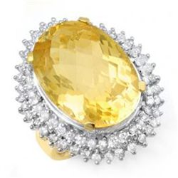 Huge! 37.75 ctw Citrine & Diamond Ring 14K