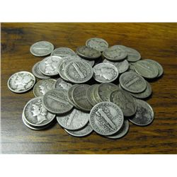 50 Random Mercury Dimes Unsearched