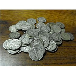 A Lot with 50 Mercury Dimes - various