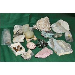 Box of semi precious stones, sea shell, etc