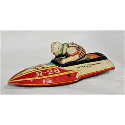 Vintage japanese tin toy boat