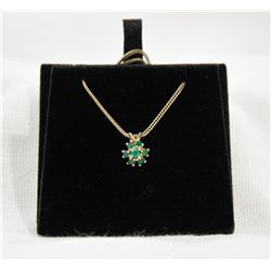 14k gold green onyx necklace