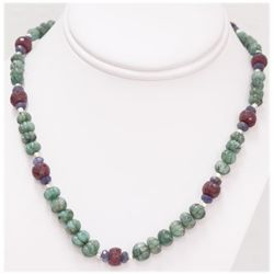 NATURAL 204.00 CTW EMERALD TANZANITE RUBY AND PEARL NEC