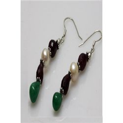 Natural 41.40ct Ruby,Pearl,Emerald Earrings .925 Sterli