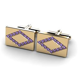 Genuine 1.60 ctw Tanzanite Cufflink 14k W/Y Gold