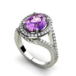Amethyst 2.98 ctw & Diamond Ring 14kt W/Y  Gold
