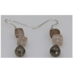 NATURAL 23.60 CTW MIXED SEMI-PRECIOUS EARRINGS .925 STE