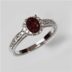 Natural 1.5 ct 2.97g Garnet & Diamond 14k WG Ring