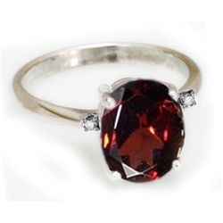 Natural 1.65 ctw Garnet 14k White Gold .05ct Diamond
